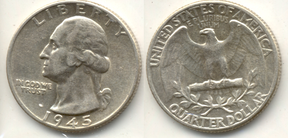 1945 Washington Quarter AU-50 a