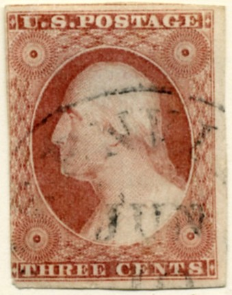 Scott 11 Washington 3 Cent Stamp Dull Red Type 1 a