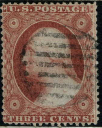 Scott 26 Washington 3 Cent Stamp Dull Red Type 2