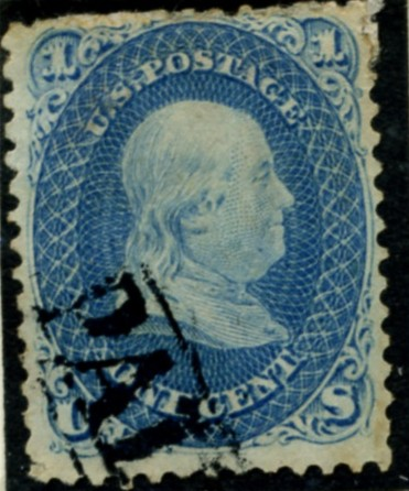 Scott 63 Franklin 1 Cent Stamp Blue