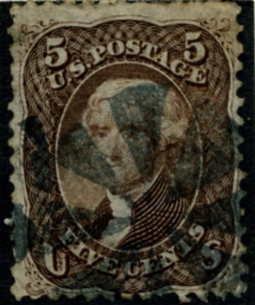 Scott 76 Jefferson 5 Cents Stamp Brown
