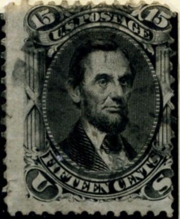 Scott 77 Lincoln 15 Cents Stamp Black