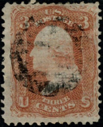 Scott 94 Washington 3 Cents Stamp Red F Grill