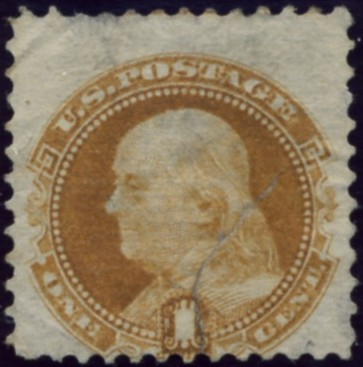 Scott 123 Franklin 1 Cent Stamp Buff Re-issue