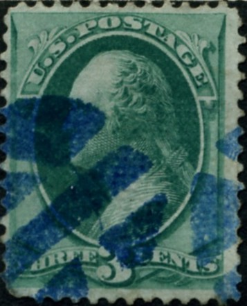 Scott 136 Washington 3 Cent Stamp Green With Grill