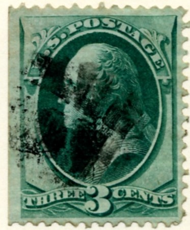 Scott 136 Washington 3 Cent Stamp Green With Grill a