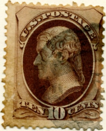Scott 150 Jefferson 10 Cent Stamp Brown No Grill a