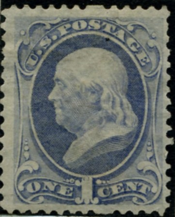 Scott 156 Franklin 1 Cent Stamp Ultramarine Continental Bank Note Co