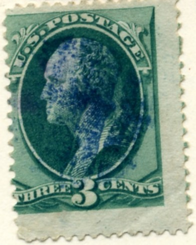 Scott 158 Washington 3 Cent Stamp Green Continental Bank Note Co b