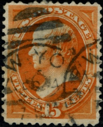 Scott 163 Hamilton 15 Cent Stamp Orange Continental Bank Note Co
