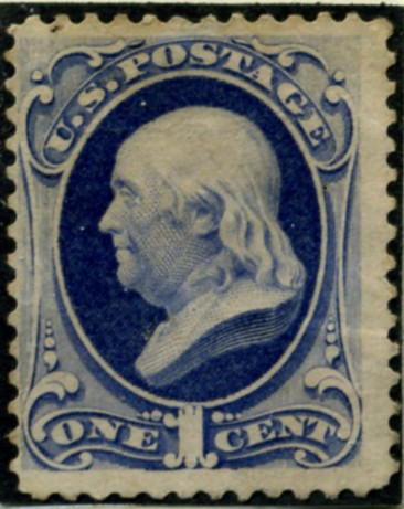 Scott 182 Franklin 1 Cent Stamp Dark Ultramarine