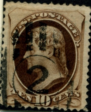 Scott 187 Jefferson 10 Cent Stamp Brown without secret mark