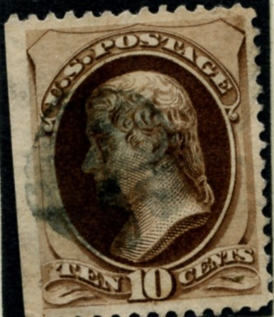 Scott 188 Jefferson 10 Cent Stamp Brown with secret mark