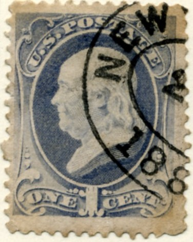 Scott 206 Franklin 1 Cent Stamp Gray Blue a