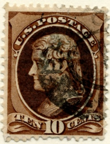 Scott 209 Jefferson 10 Cent Stamp Brown a