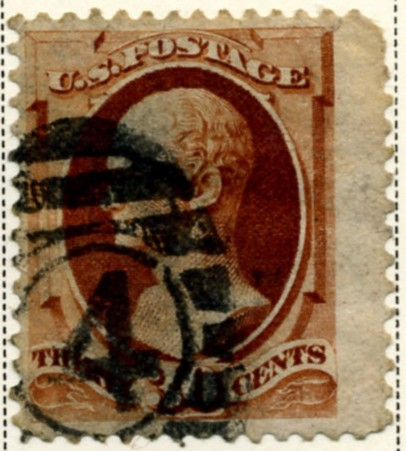 Scott 217 Hamilton 30 Cent Stamp Orange Brown a
