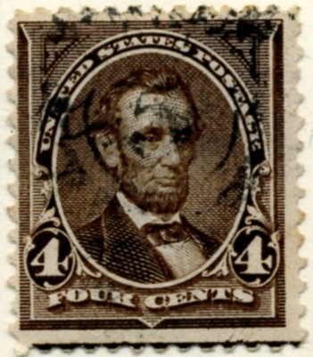 Scott 254 Lincoln 4 Cent Stamp Dark Brown a