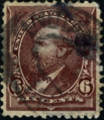 Scott 256 6 Cent Stamp Dull Brown