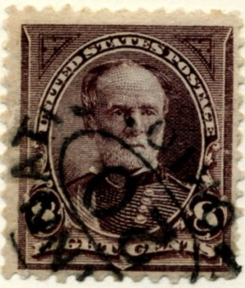 Scott 257 Sherman 8 Cent Stamp Violet Brown a
