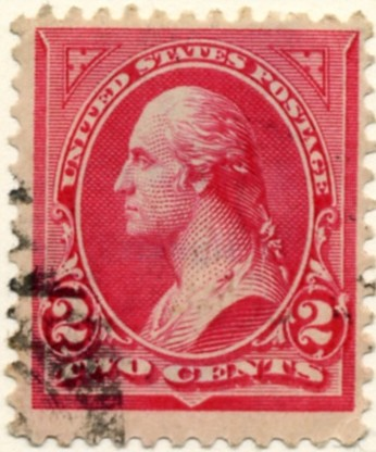 266 Washington 2 Cents Stamp Carmine Type 2 double line watermark a