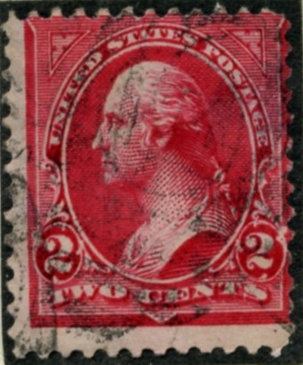 Scott 267 Washington 2 Cents Stamp Carmine Type 3 double line watermark