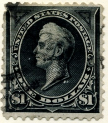 Scott 276 Perry $1 Dollar Stamp Black Type 1 double line watermark a