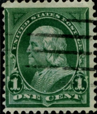 Scott 279 Franklin 1 Cent Stamp Dark Green