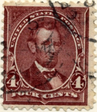 Scott 280 Lincoln 4 Cent Stamp Rose Brown a