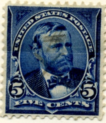 Scott 281 Grant 5 Cent Stamp Dark Blue a