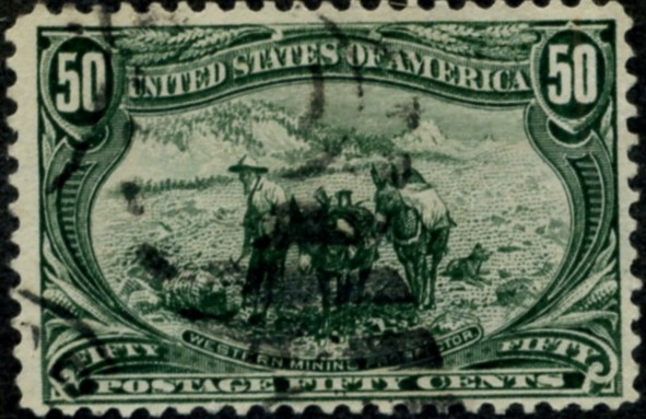 Scott 291 50 Cent Stamp Sage Green Trans-Mississippi Exposition