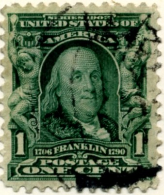 Scott 300 Franklin 1 Cent Stamp Blue Green Definitive a
