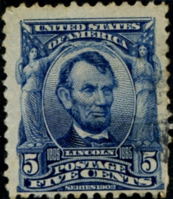 Scott 304 Lincoln 5 Cent Stamp Blue Definitive