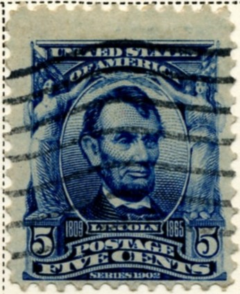 Scott 304 Lincoln 5 Cent Stamp Blue Definitive a