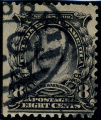 Scott 306 Martha Washington 8 Cent Stamp Violet Black Definitive