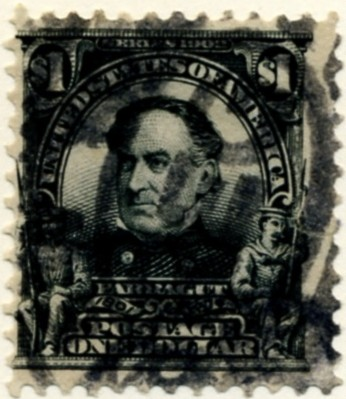 Scott 311 Farragut $1 Dollar Stamp Black Definitive a