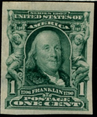 Scott 314 Franklin 1 Cent Stamp Blue Green