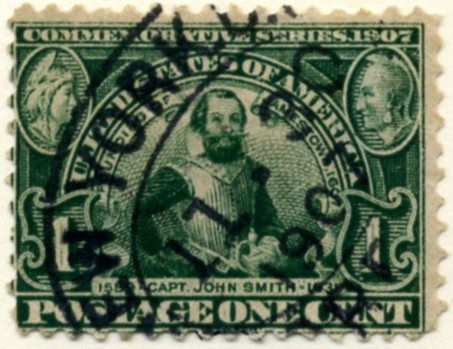 Scott 328 Captain Smith 1 Cent Stamp Green Jamestown Exposition a