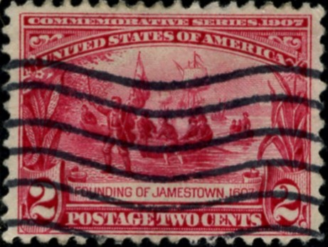 Scott 329 Founding of Jamestown 2 Cent Stamp Carmine