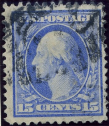 Scott 340 15 Cent Stamp Pale Ultramarine Washington Franklin Series