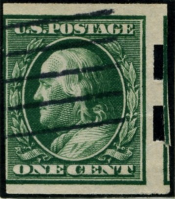 Scott 343 1 Cent Stamp Green Washington Franklin Series no perforations
