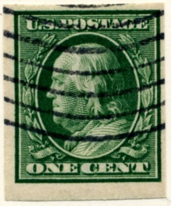 Scott 343 1 Cent Stamp Green Washington Franklin Series no perforations a