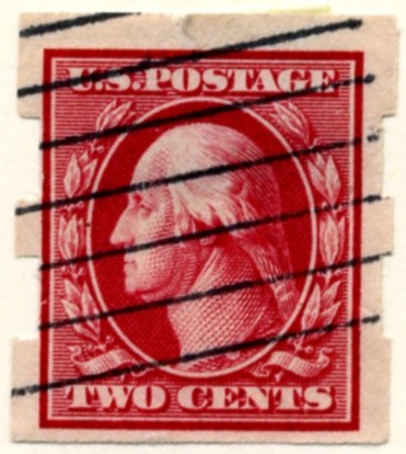 Scott 344 2 Cent Stamp Carmine Washington Franklin Series no perforations b