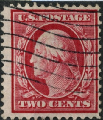 Scott 375 2 Cent Stamp Carmine Washington Franklin Series single line watermark