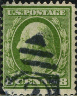 Scott 380 8 Cent Stamp Olive Green Washington Franklin Series single line watermark