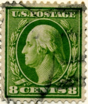 Scott 380 8 Cent Stamp Olive Green Washington Franklin Series single line watermark a