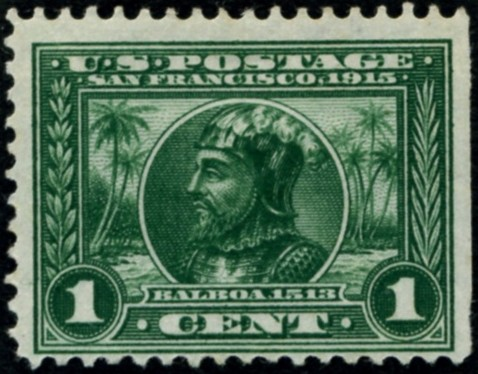Scott 397 1 Cent Stamp Green Panama Pacific perforated 12