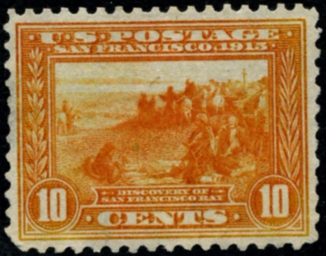 Scott 400a San Francisco Bay 10 Cent Stamp Orange Panama Pacific perforated 12