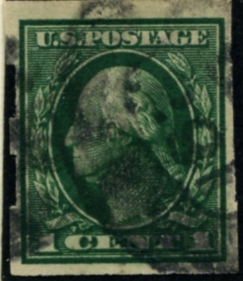 Scott 408 1 Cent Stamp Green Washington Franklin Series not perforated single line watermark