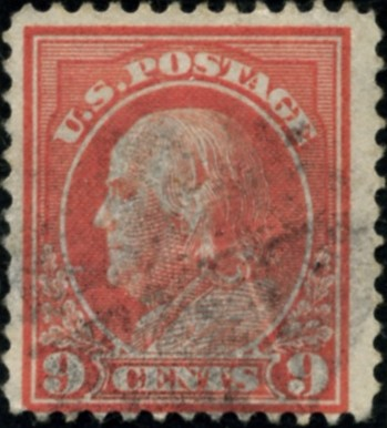 Scott 415 9 Cent Stamp Salmon Red Washington Franklin Series perforated 12 single line watermark