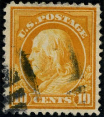 Scott 416 10 Cent Stamp Orange Yellow Washington Franklin Series perforated 12 single line watermark
